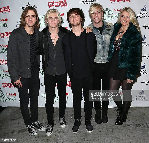 Musicians Rocky Lynch Ross Lynch Ellington Ratliff Riker Lynch and Rydel Lynch of R5 attend the 83rd Annual Hollywood Christmas Parade on November 30...