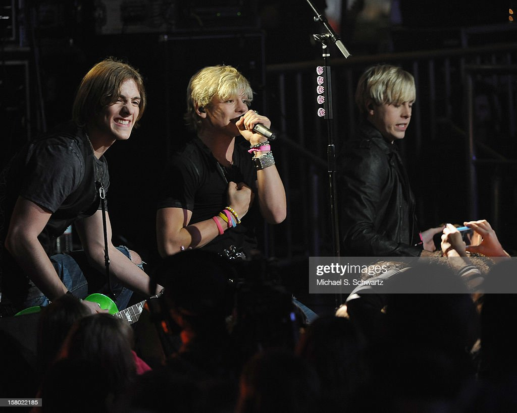 Musicians Rocky, Ross and Riker Lynch perform for the group R5 during their appearance at Radio Disney's N.B.T. 'Next BIG Thing' Season 5 Finale Event at The Americana at Brand on December 8, 2012 in Glendale, California.