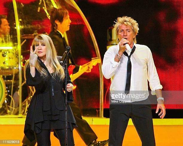 Musicians Rod Stewart and Stevie Nicks perform in concert at Madison Square Garden on March 26 2011 in New York City