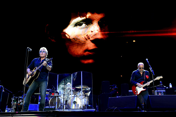 Musicians Roger Daltrey and Pete Townshend of The Who perform onstage during Desert Trip at the Empire Polo Field on October 9 2016 in Indio...