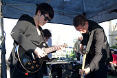Musicians Romy Madley Croft and Oliver Sim of the band The xx perform at 987 FM's Penthouse Party Pad at The Historic Hollywood Tower on July 23 2012...