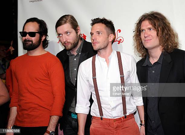 Musicians Ronnie Vannucci Jr Mark Stoermer Brandon Flowers and Dave Kruning of The Killers attend the fifth anniversary celebration of 'The Beatles...