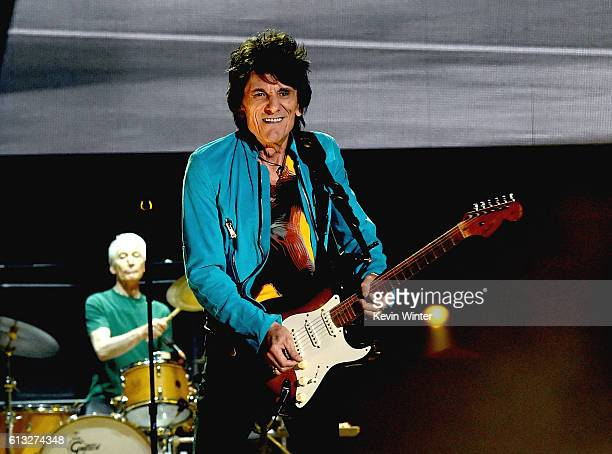 Musicians Ronnie Wood and Charlie Watts of The Rolling Stones perform onstage during Desert Trip at the Empire Polo Field on October 7 2016 in Indio...