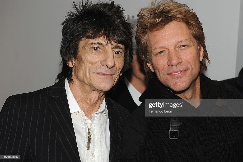 Musicians Ronnie Wood and Jon Bon Jovi (R) attend the premiere of 'Stand Up Guys' hosted by The Cinema Society with Chrysler and Bally at MOMA on December 9, 2012 in New York City.