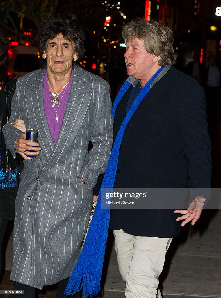 Musicians Ronnie Wood (L) and Mick Taylor of the Rolling Stones seen outside the Gansevoort Hotel on November 7, 2013 in New York City.