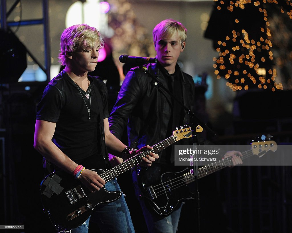 Musicians Ross (L) and Riker Lynch perform for the group R5 during their appearance at Radio Disney's N.B.T. 'Next BIG Thing' Season 5 Finale Event at The Americana at Brand on December 8, 2012 in Glendale, California.