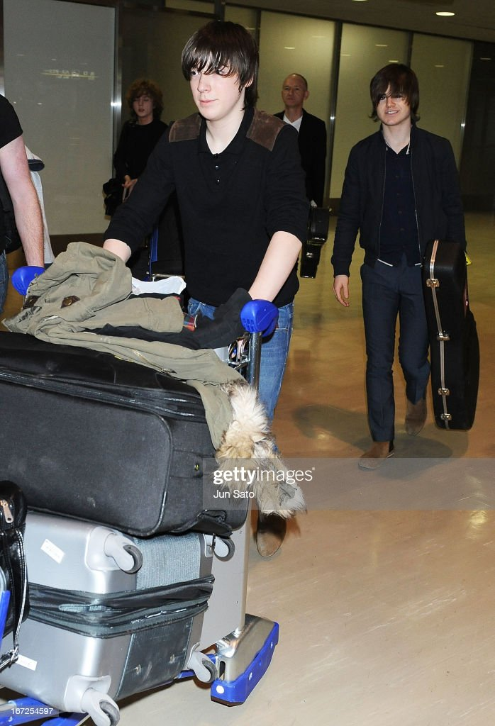 Musicians Ross Farrelly and Josh McClorey of the Strypes arrive at Narita International Airport on April 23, 2013 in Narita, Japan.