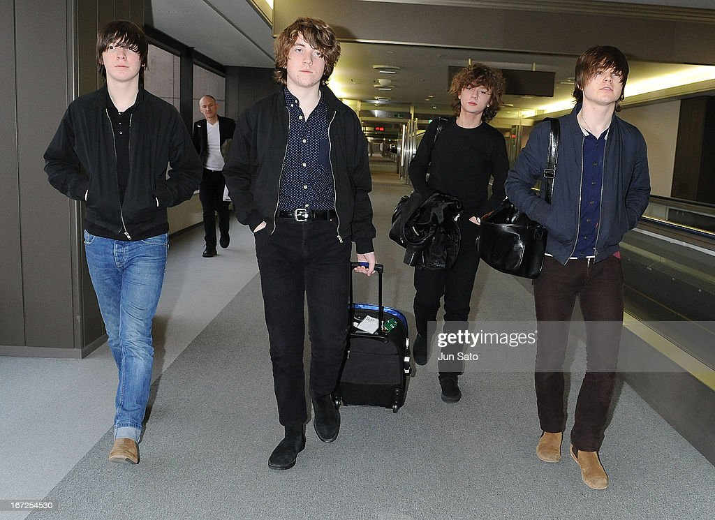 Musicians Ross Farrelly, Pete O'Hanlon, Evan Walsh and Josh McClorey of the Strypes arrive at Narita International Airport on April 23, 2013 in Narita, Japan.