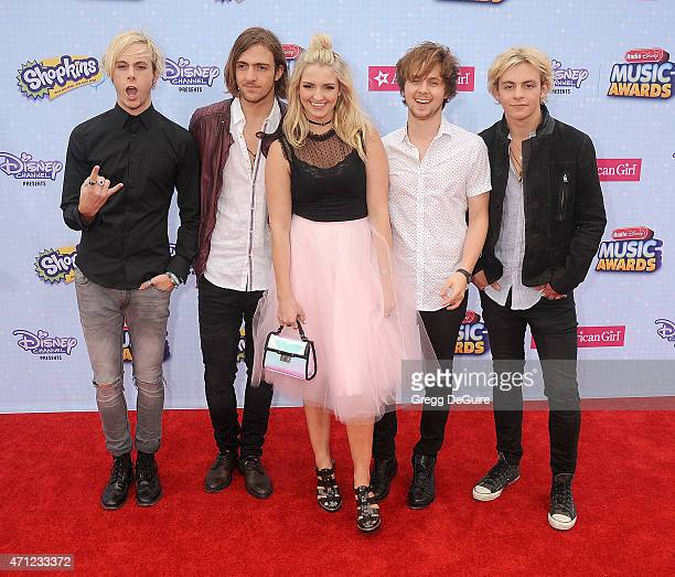 Musicians Ross Lynch Riker Lynch Rocky Lynch Rydel Lynch and Ellington Ratliff of R5 arrive at the 2015 Radio Disney Music Awards at Nokia Theatre LA...