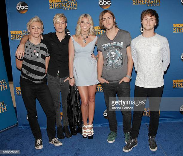 HOLLYWOOD CA MAY 13 Musicians Ross Lynch Riker Lynch Rydel Lynch Rocky Lynch and Ellington Ratliff of R5 attend the 2014 MDA show of strength...