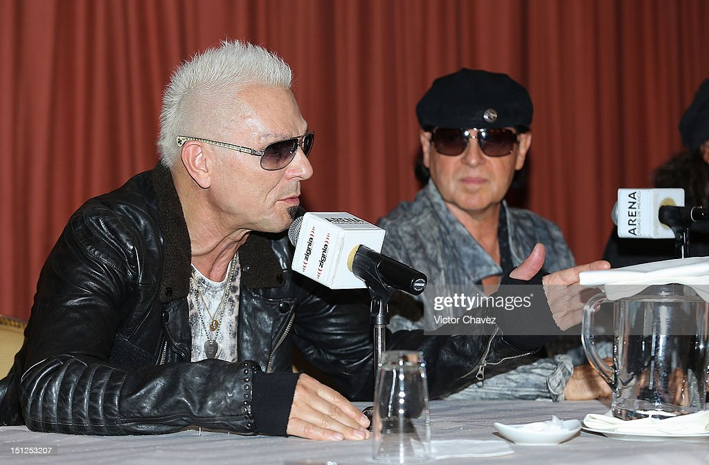 Musicians <a gi-track='captionPersonalityLinkClicked' href=/galleries/search?phrase=Rudolf+Schenker&family=editorial&specificpeople=710263 ng-click='$event.stopPropagation()'>Rudolf Schenker</a> and <a gi-track='captionPersonalityLinkClicked' href=/galleries/search?phrase=Klaus+Meine&family=editorial&specificpeople=240345 ng-click='$event.stopPropagation()'>Klaus Meine</a> of rock band Scorpions attend a press conference at Nikko hotel on September 4, 2012 in Mexico City, Mexico.