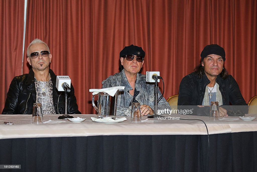 Musicians <a gi-track='captionPersonalityLinkClicked' href=/galleries/search?phrase=Rudolf+Schenker&family=editorial&specificpeople=710263 ng-click='$event.stopPropagation()'>Rudolf Schenker</a>, <a gi-track='captionPersonalityLinkClicked' href=/galleries/search?phrase=Klaus+Meine&family=editorial&specificpeople=240345 ng-click='$event.stopPropagation()'>Klaus Meine</a> and <a gi-track='captionPersonalityLinkClicked' href=/galleries/search?phrase=Matthias+Jabs&family=editorial&specificpeople=710280 ng-click='$event.stopPropagation()'>Matthias Jabs</a> of rock band Scorpions attend a press conference at Nikko hotel on September 4, 2012 in Mexico City, Mexico.