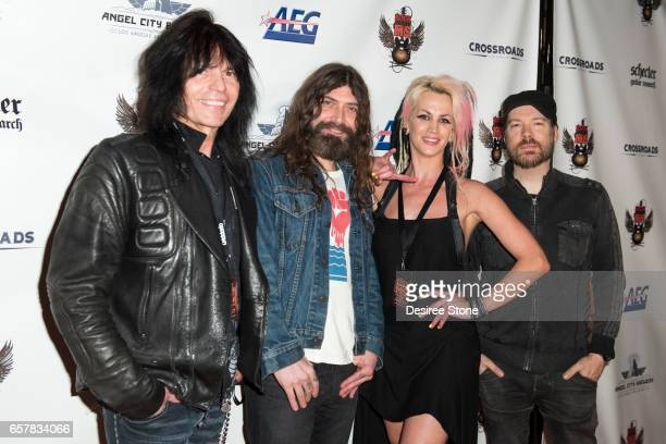 Musicians Rudy Sarzo Tanya O and Marty O'Brien attend the 5th Annual Rock Against MS at Los Angeles Theatre on March 25 2017 in Los Angeles California