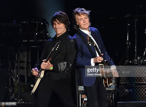 Musicians Rusty Anderson and Paul McCartney perform during Desert Trip at the Empire Polo Field on October 15 2016 in Indio California