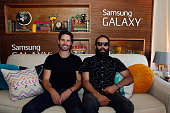 Musicians Ryan Merchant and Sebu Simonian of Capital Cities attend the Samsung Galaxy Artist's Lounge at the Austin City Limits Music Festival on...