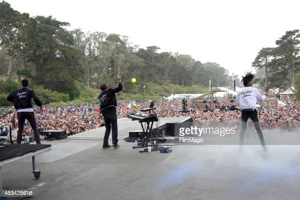 Musicians Ryan Merchant Sebu Simonian and Spencer Ludwig of the band Capital Cities perform at the Twin Peaks Stage during day 2 of the 2014 Outside...