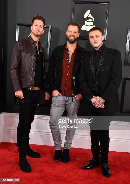 Musicians Ryan Meyer Rich Meyer and Johnny Stevens of Highly Suspect attend The 59th GRAMMY Awards at STAPLES Center on February 12 2017 in Los...