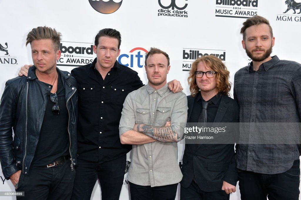 Musicians <a gi-track='captionPersonalityLinkClicked' href=/galleries/search?phrase=Ryan+Tedder&family=editorial&specificpeople=4651553 ng-click='$event.stopPropagation()'>Ryan Tedder</a>, <a gi-track='captionPersonalityLinkClicked' href=/galleries/search?phrase=Zach+Filkins&family=editorial&specificpeople=4651554 ng-click='$event.stopPropagation()'>Zach Filkins</a>, Eddie Fisher, <a gi-track='captionPersonalityLinkClicked' href=/galleries/search?phrase=Drew+Brown+-+Musician&family=editorial&specificpeople=1662125 ng-click='$event.stopPropagation()'>Drew Brown</a>, and <a gi-track='captionPersonalityLinkClicked' href=/galleries/search?phrase=Brent+Kutzle&family=editorial&specificpeople=4651556 ng-click='$event.stopPropagation()'>Brent Kutzle</a> of OneRepublic attend the 2014 Billboard Music Awards at the MGM Grand Garden Arena on May 18, 2014 in Las Vegas, Nevada.