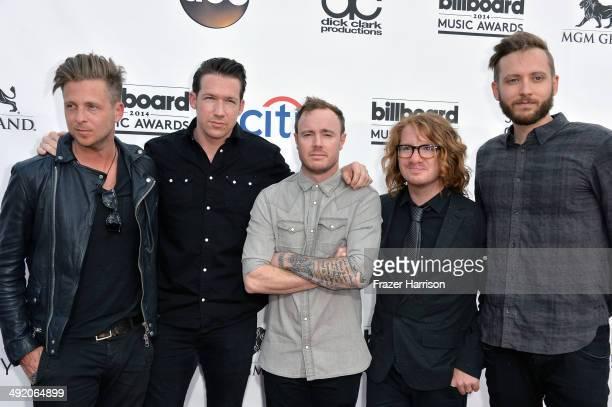 Musicians Ryan Tedder Zach Filkins Eddie Fisher Drew Brown and Brent Kutzle of OneRepublic attend the 2014 Billboard Music Awards at the MGM Grand...