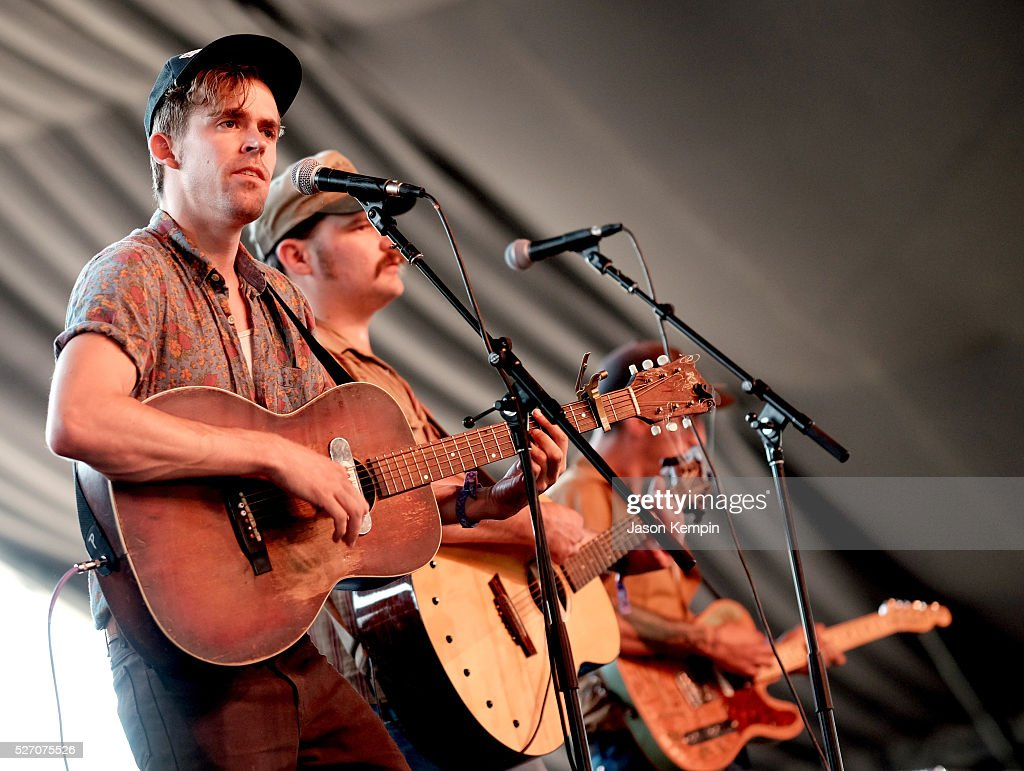 Musicians Sam Doores, Riley Downing and John James Tourville of The Deslondes perform onstage during 2016 Stagecoach California's Country Music Festival at Empire Polo Club on May 01, 2016 in Indio, California.
