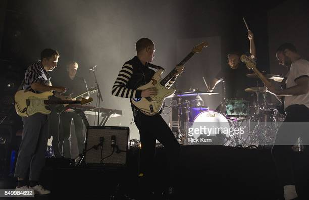 Musicians Sam Halliday Jacob Berry Alex Trimble Benjamin Thompson and Kevin Baird of Two Door Cinema Club perform in concert at ACL Live on September...