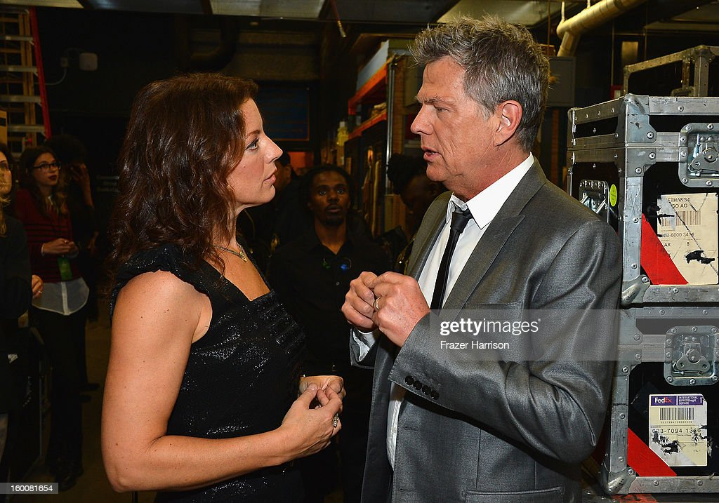 Musicians Sarah McLachlan and David Foster attend Yamaha's 125th Anniversary Live Around the World Dealer Concert at the Hyperion Theater on January 25, 2013 in Anaheim, California.