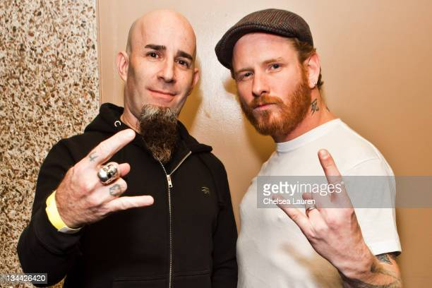 Musicians Scott Ian and Corey Taylor pose backstage at the All Star Concert benefiting Drop In The Bucket at Avalon on November 30 2011 in Hollywood...