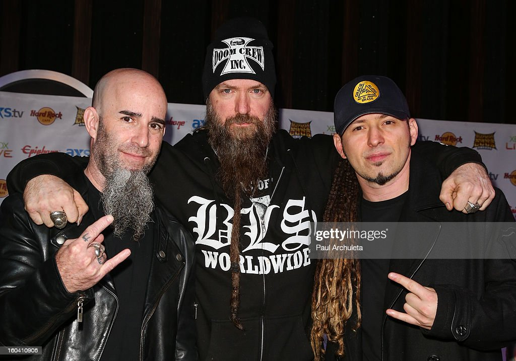 Musicians <a gi-track='captionPersonalityLinkClicked' href=/galleries/search?phrase=Scott+Ian&family=editorial&specificpeople=208132 ng-click='$event.stopPropagation()'>Scott Ian</a>, <a gi-track='captionPersonalityLinkClicked' href=/galleries/search?phrase=Zakk+Wylde&family=editorial&specificpeople=2090508 ng-click='$event.stopPropagation()'>Zakk Wylde</a> and Zoltan Bathory attend the 5th annual Revolver Golden Gods Awards nominee announcements at the Hard Rock Cafe Hollywood on January 30, 2013 in Hollywood, California.