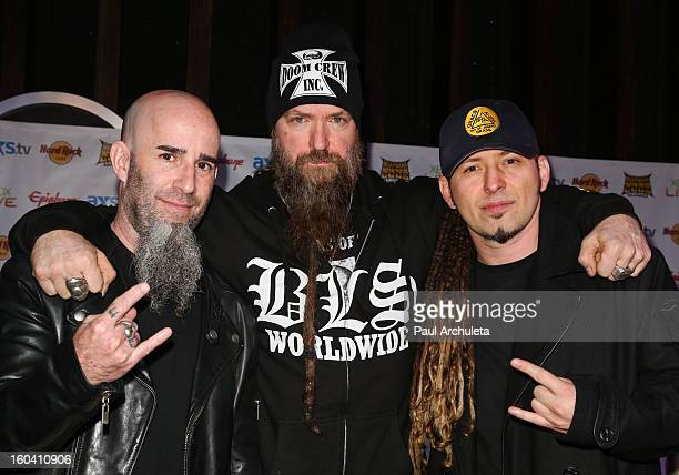 Musicians Scott Ian Zakk Wylde and Zoltan Bathory attend the 5th annual Revolver Golden Gods Awards nominee announcements at the Hard Rock Cafe...