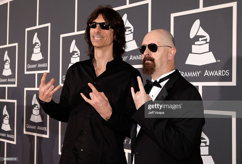 Musicians Scott Travis and Rob Halford of Judas Priest arrive at the 52nd Annual GRAMMY Awards held at Staples Center on January 31, 2010 in Los Angeles, California.