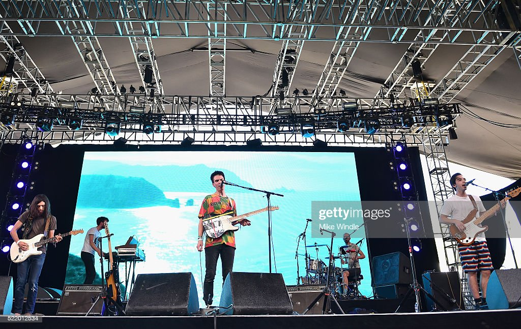 Musicians Sean Guerin and Isaac Franco of De Lux perform onstage during day 3 of the 2016 Coachella Valley Music And Arts Festival Weekend 1 at the...
