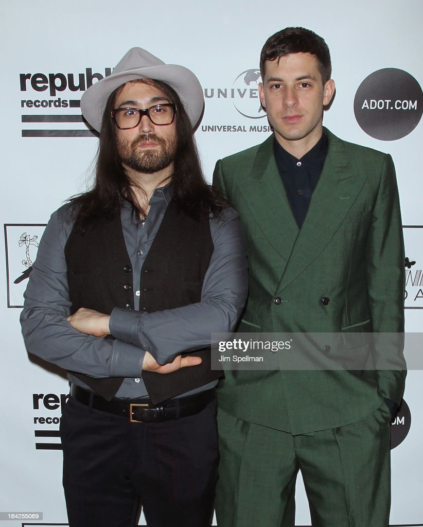 Musicians Sean Lennon (L) and Mark Ronson attend the 2013 Amy Winehouse Foundation Inspiration Awards and Gala at The Waldorf=Astoria on March 21, 2013 in New York City.