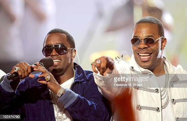 Musicians Sean 'PDiddy' Combs and Busta Rhymes perform onstage during the 2010 BET Awards held at the Shrine Auditorium on June 27 2010 in Los...