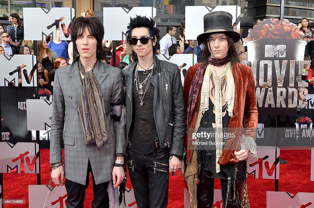 Musicians Sebastian Danzig, Remington Leith and Emerson Barrett of Palaye Royale attend the 2014 MTV Movie Awards at Nokia Theatre L.A. Live on April 13, 2014 in Los Angeles, California.