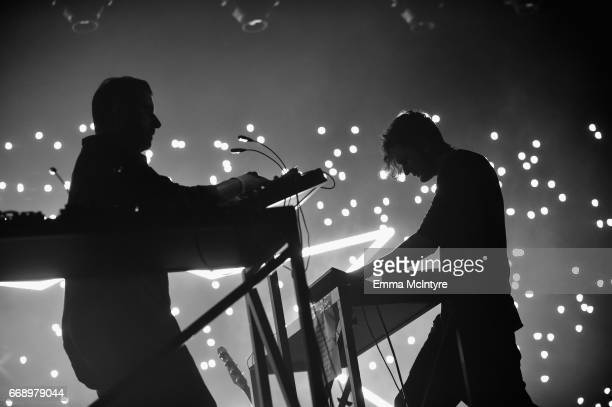 Musicians Sebastian Szary and Apparat of Moderat perform at the Mojave Tent during day 2 of the Coachella Valley Music And Arts Festival at the...