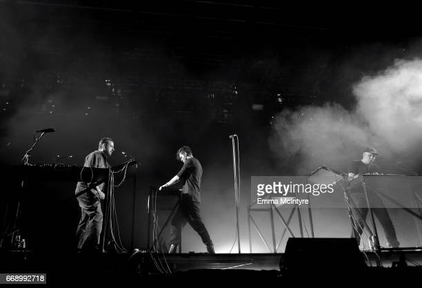Musicians Sebastian Szary Apparat and Gernot Bronsert of Moderat perform at the Mojave Tent during day 2 of the Coachella Valley Music And Arts...