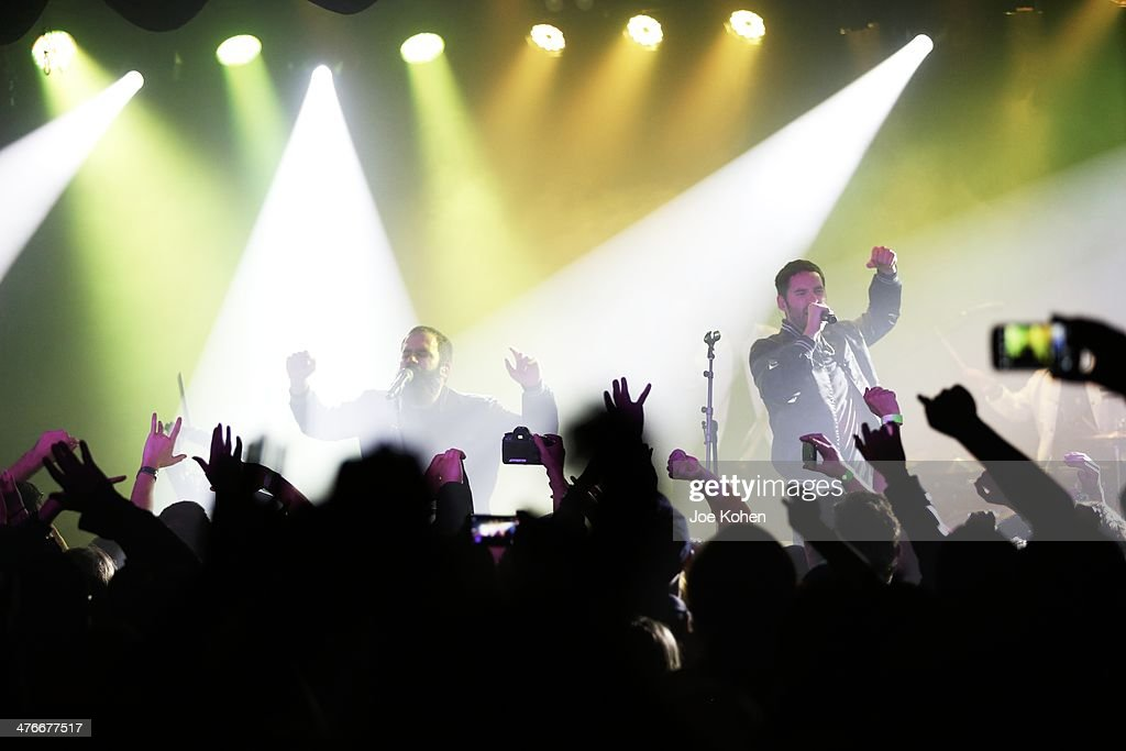 Musicians Sebu Simonian and Ryan Merchant of Capital Cities performs live at the Roxy on February 28 2014 in Los Angeles California