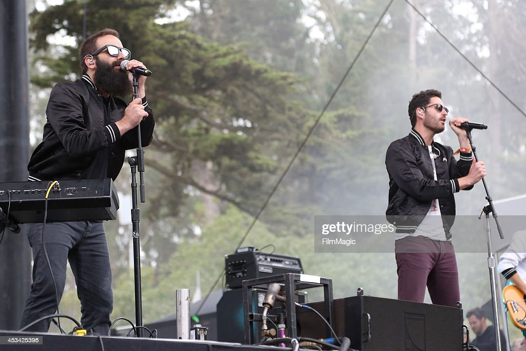 Musicians Sebu Simonian and Ryan Merchant of the band Capital Cities perform at the Twin Peaks Stage during day 2 of the 2014 Outside Lands Music and...