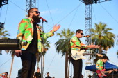 Musicians Sebu Simonian Ryan Merchant and Manny Quintero of Capital Cities perform onstage during day 2 of the 2014 Coachella Valley Music Arts...