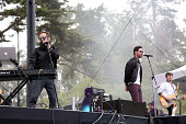 Musicians Sebu Simonian Ryan Merchant and Spencer Ludwig of the band Capital Cities perform at the Twin Peaks Stage during day 2 of the 2014 Outside...