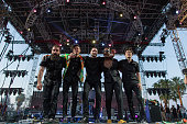 Musicians Sebu Simonian Spencer Ludwig Ryan Merchant Channing Cook Holmes and Manny Quintero of Capital Cities perform onstage during day 2 of the...