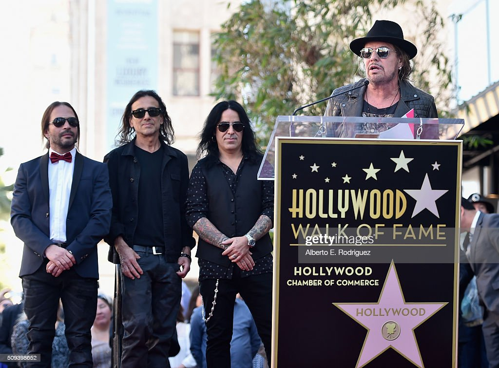 Musicians Sergio Vallin, Juan Calleros, Alex Gonzalez and Fher Olvera of the Mexican rock band Maná attend a ceremony honoring Maná with the 2,573rd Star on the Hollywood Walk of Fame on February 10, 2016 in Hollywood, California.