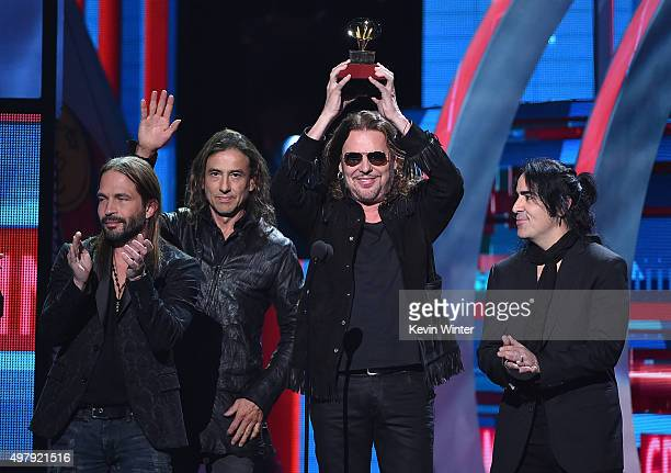 Musicians Sergio Vallin Juan Calleros Fher Olvera and Alex Gonzalez of Mana accept the Best Pop/Rock Album for 'Cama Incendiada' onstage during the...