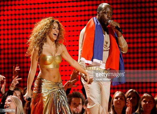 Musicians Shakira and Wyclef Jean perform 'Hips Don't Lie' onstage at the 49th Annual Grammy Awards at the Staples Center on February 11 2007 in Los...