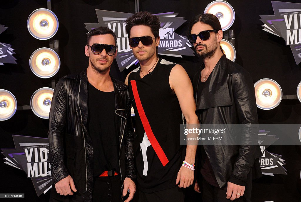 Musicians Shannon Leto, Jared Leto and Tomo Milicevic from the band 30 Seconds to Mars arrive at the 2011 MTV Video Music Awards at Nokia Theatre L.A. LIVE on August 28, 2011 in Los Angeles, California.