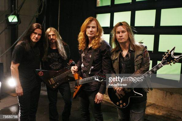Musicians Shawn Drover James Lomenzo Dave Mustaine and Glen Drover pose at a video shoot for Megadeth for the song 'A Tout Le Monde ' on March 8 2007...