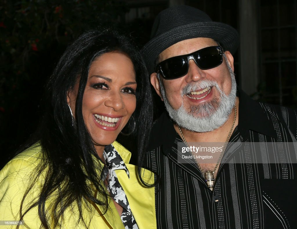 Musicians <a gi-track='captionPersonalityLinkClicked' href=/galleries/search?phrase=Sheila+E.&family=editorial&specificpeople=242934 ng-click='$event.stopPropagation()'>Sheila E.</a> (L) and Poncho Sanchez attend the 35th Anniversary Playboy Jazz Festival news conference at the Playboy Mansion on February 28, 2013 in Beverly Hills, California.