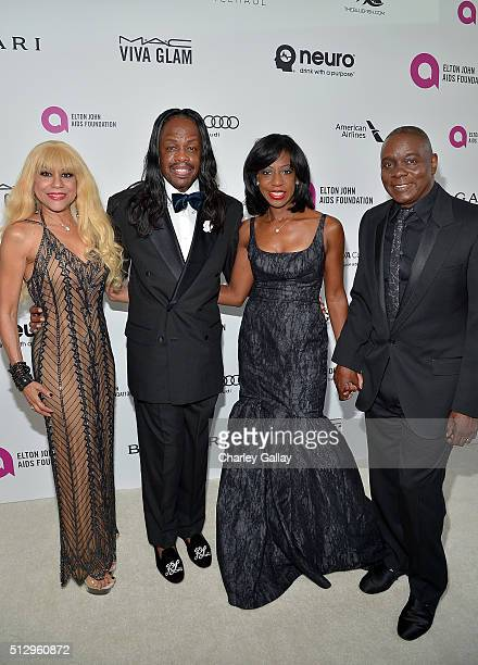 Musicians Shelly Clark Verdine White Krystal Bailey and Philip Bailey attend Neuro at the 24th Annual Elton John AIDS Foundation's Oscar Viewing...