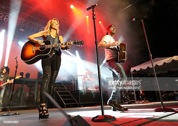 Musicians Sheryl Crow and Dierks Bentley perform onstage at the ACM Party For A Cause Festival during the 48th Annual Academy of Country Music Awards...