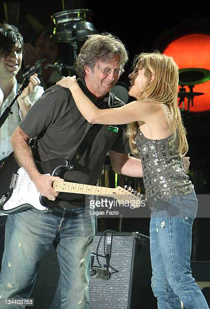 Musicians Sheryl Crow and Eric Clapton perform live at the Sunfest Music Arts Festival on April 30 2008 in West Palm Beach Florida